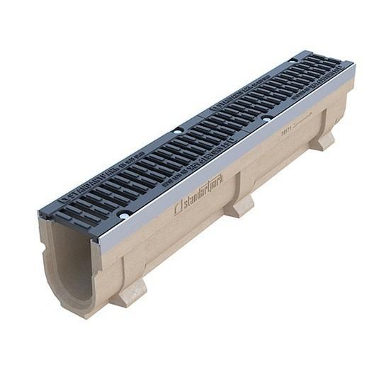 Лоток водоотводный Standartpark CompoMax Drive ЛВ–10.16.10–П полимербетонный с решеткой щелевой чугунной ВЧ класс D комплект