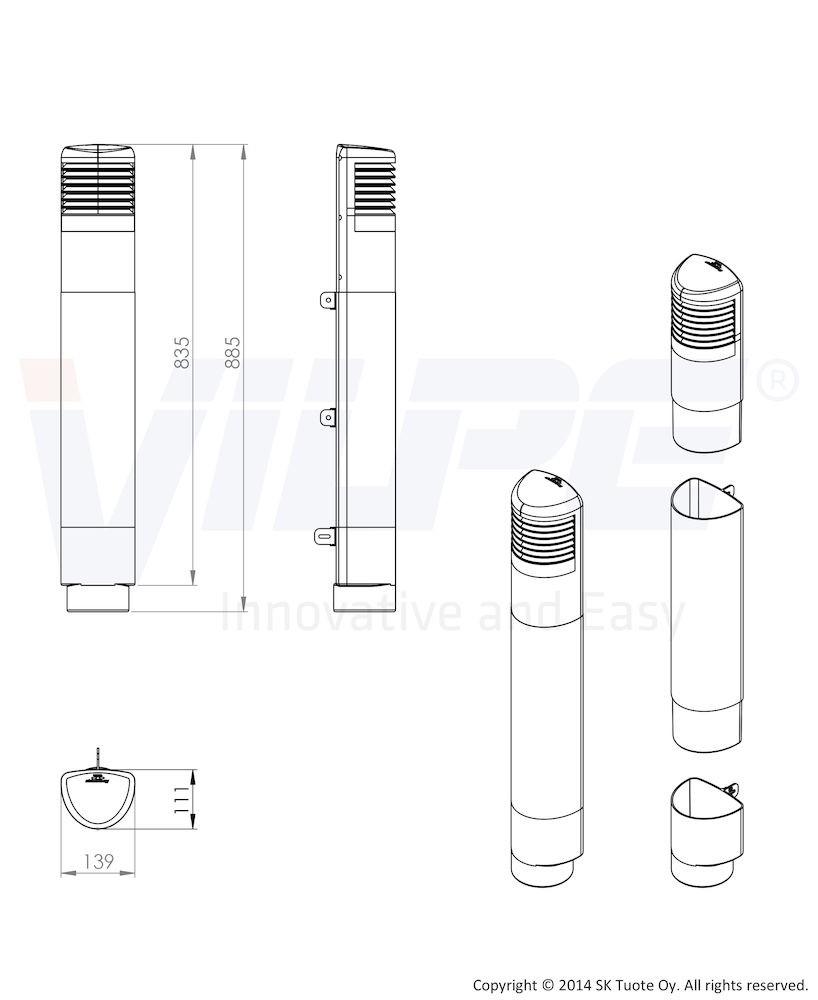 Ремонтный комплект для цокольного дефлектор ROSS - 125/110 бежевый