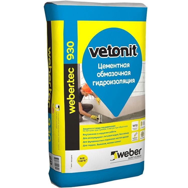 Гидроизоляция обмазочная цементная  Weber.Tec 930 20 кг , цена - купить у оптового поставщика