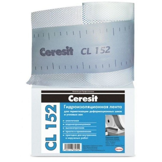 Лента водонепроницаемая Ceresit CL 152 для герметизации швов 10000х120 мм, цена - купить у оптового поставщика