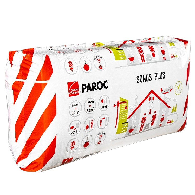 Базальтовая вата Paroc Sonus Plus 1200х600х50 мм 10 плит в упаковке, цена - купить у оптового поставщика