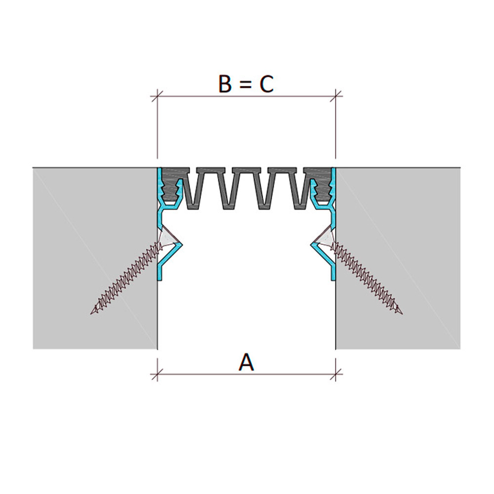 Вставной профиль для фасадного деформационного шва Аквастоп тип ДГК-ФАС/030