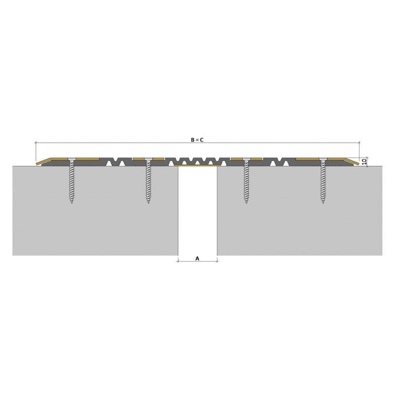 Накладной профиль для деформационного шва ДПП-0/050 ПП1-236/050 ПН-83-АА