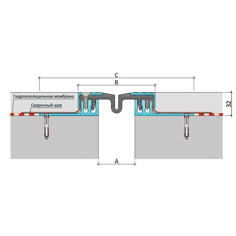 Закладной профиль для деформационного шва ДПШ-30/150 + сталь