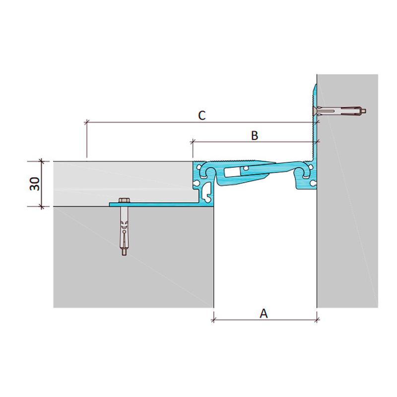 Закладной профиль для деформационного шва ДША.ТC-30-УГЛ/235