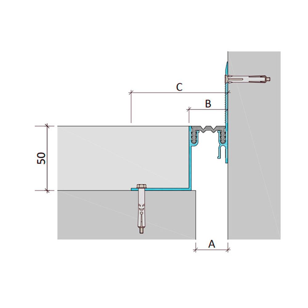 Закладной профиль для деформационного шва ДШЛ-50-УГЛ/015