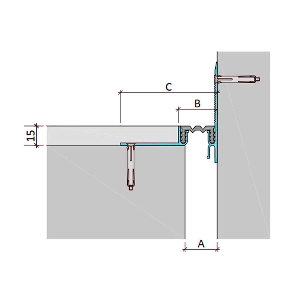 Закладной профиль для деформационного шва ДШЛ-15-УГЛ/015