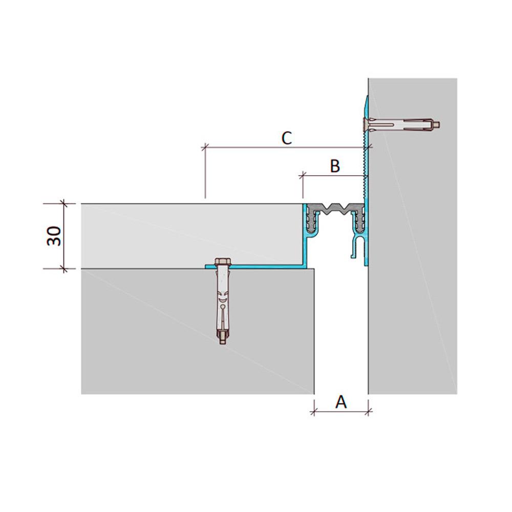 Закладной профиль для деформационного шва ДШЛ-30-УГЛ/035