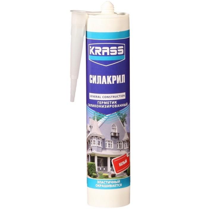 Герметик силиконизированный Krass Силакрил белый 300 мл, цена - купить у оптового поставщика