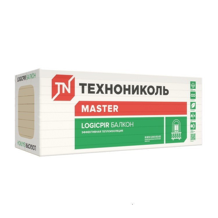 Теплоизоляция Технониколь Logicpir Балкон 1200х600х20 мм 12 плит в упаковке, цена - купить у оптового поставщика