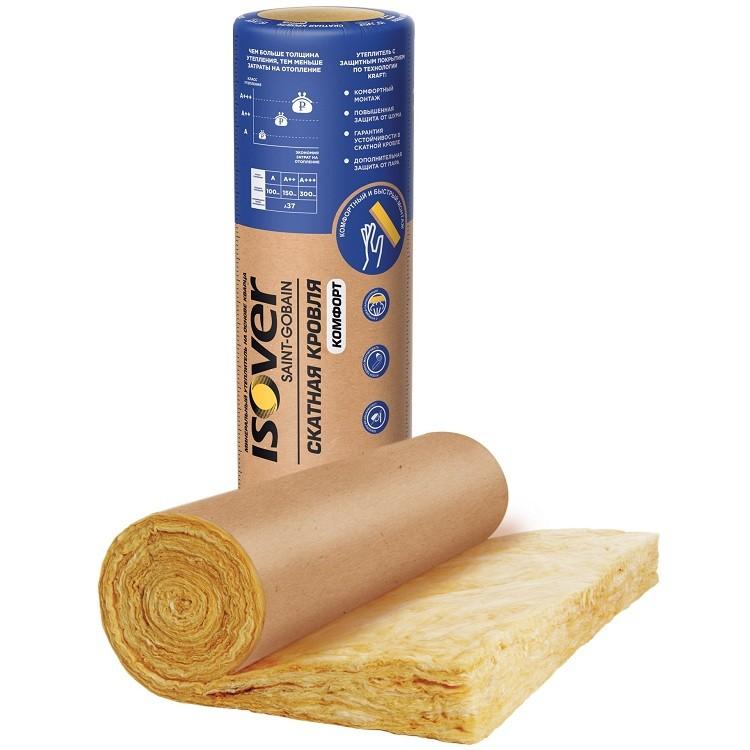 Теплоизоляция Isover Скатная Кровля Комфорт 5000х1220х100 мм на основе кварца 1 штука в упаковке, цена - купить у оптового поставщика