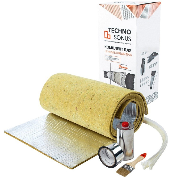 Комплект звукоизоляции труб TechnoSonus 1200х500 мм, цена - купить у оптового поставщика